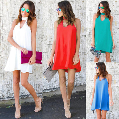Spaghetti Straps V-neck Pure Color Chiffon Short Dress