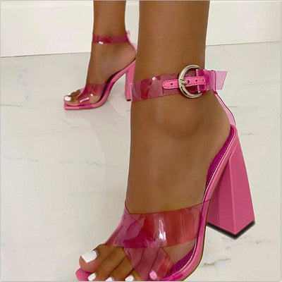 Summer Pvc Square Toe Chunky Heel Sandals
