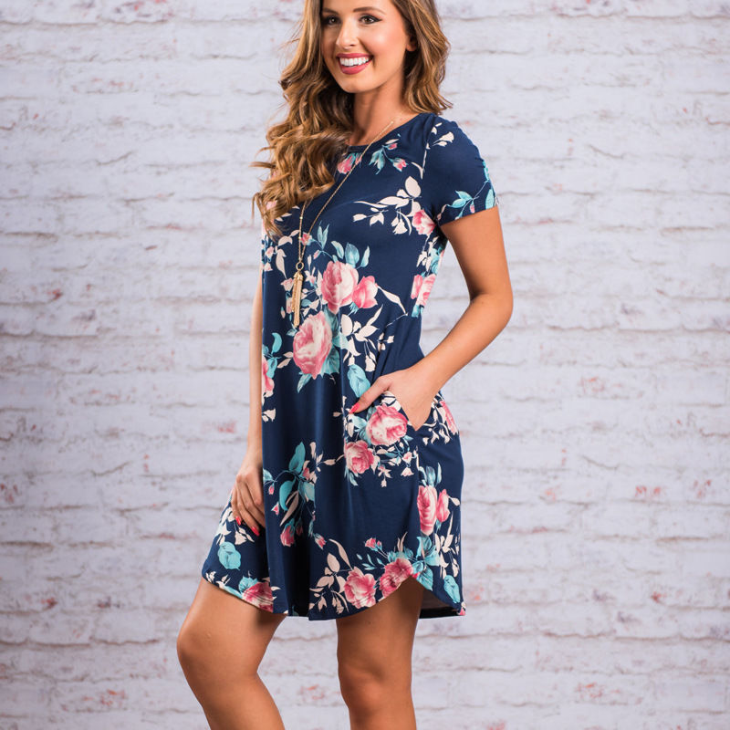 Flower Print Pockets Loose Women Short Dress