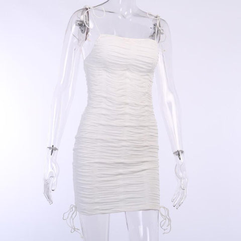 Skinny Soild Ruched Short Dress