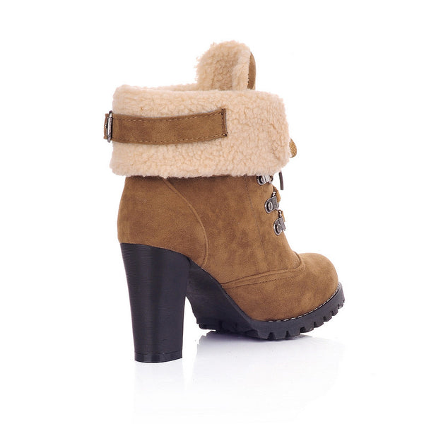 Fashion French Style Simulation Lamb Fur Martin Boots