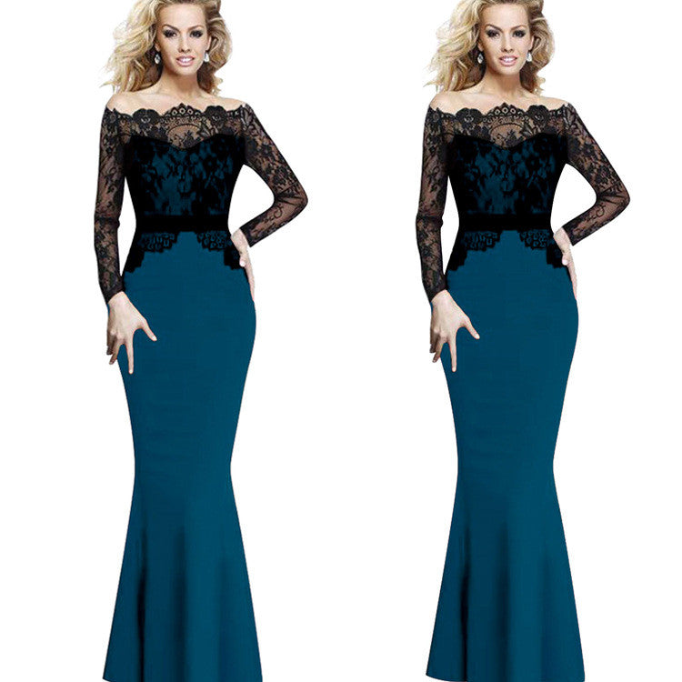 Splicing Mermaid Lace Long Party Dress