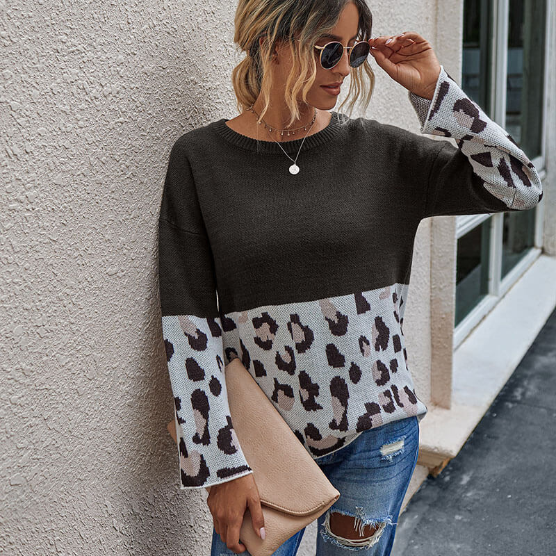 Leopard Patchwork Pullover Sweater