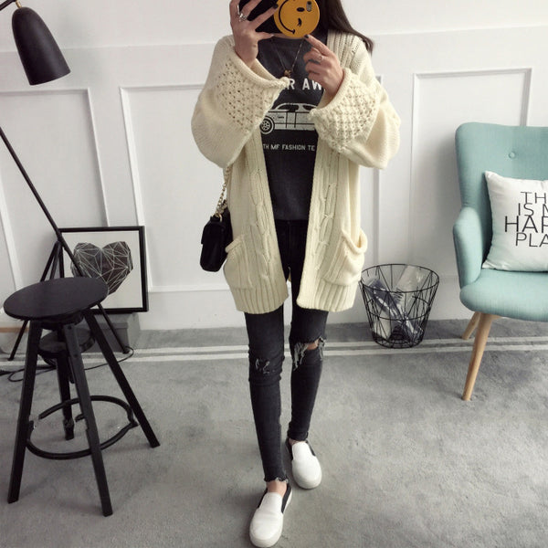 Cable Open Loose Sleeves Pocket Loose Long Cardigan