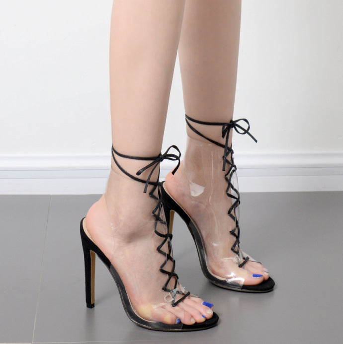 2fd827122f205 Transparent Lace Up Peep-toe Stiletto Heel Ankle Strap Sandals –  MeetYoursFashion