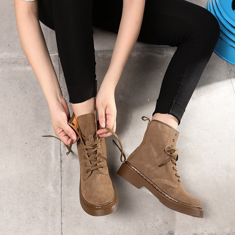 639efb2bfbde Leather Chunky Heel Round Toe Lace-Up Ankle Boots – MeetYoursFashion