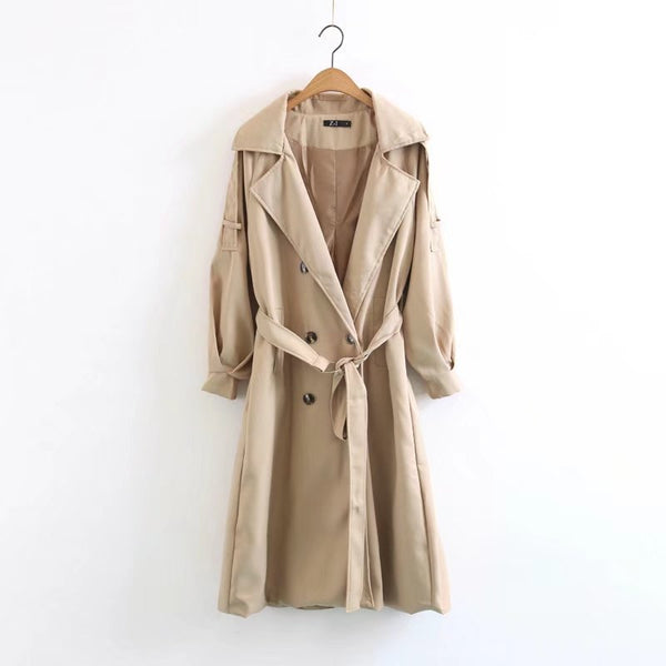 V-neck Lapel Collar Belt Double Breasted Long Coat