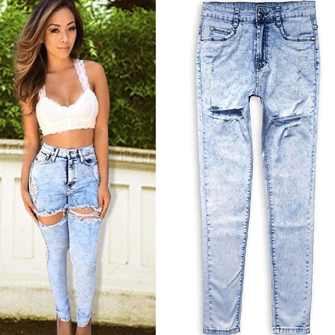 Snow White Holes High Waist Plus Size Jeans - Meet Yours Fashion - 1