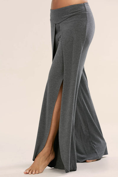 Elastic Pure Color Split Loose Wide-Leg Yoga Long Pants