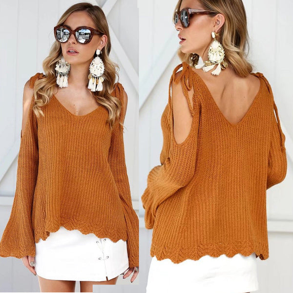 Bear Shoulder V-neck Solid Color Long Trumpet Sweater