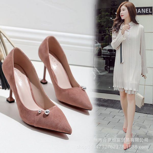 Beadings Candy Color Pointed Toe Low Cut High Heels Shoes