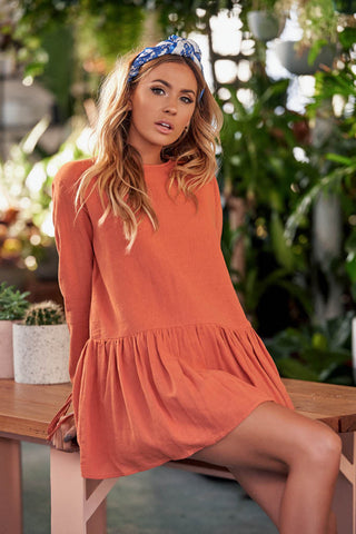 Pure Color Long Sleeves Scoop Short Dress