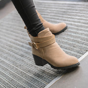 Round Toe Ankle Wraps Low Chunky Heel Low Cut Short Boots