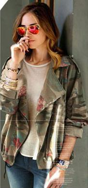 Bat-wing Sleeves Camouflage Casual Flower Print Long Sleeves Short Coat - Meet Yours Fashion - 1