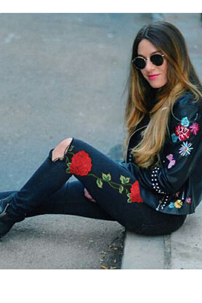 Emrboidery Flower Denim Hole Long Pencil Jeans Pants