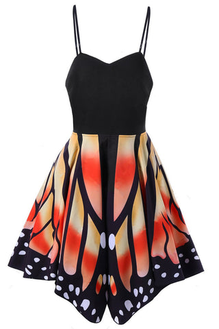 Patchwork Print Spaghetti Straps Butterfly Short Dress