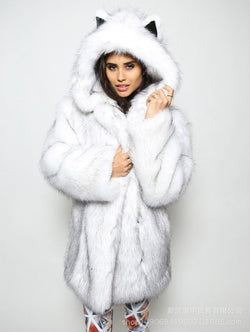 Faux Fox Fur Women Cat Style Oversized Coat