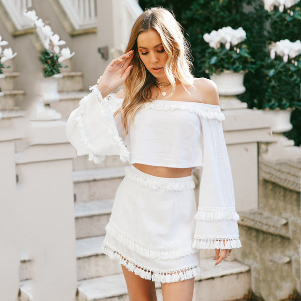 Off Shoulder Long Trumpet Sleeve Crop Top with Tassels Short Skirt Two Pieces Dress Set