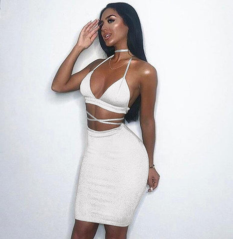 Deep V-neck Bandage Backless Crop Top High Waist Knee-length Skirt Women Two Pieces Set