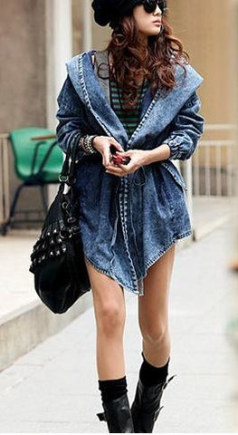 Hooded Irregular Belt Casual Mid-length Long Sleeves Denim Coat - Meet Yours Fashion - 1