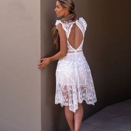 Deep V-neck Lace Open Back Irregular Knee-length Dress