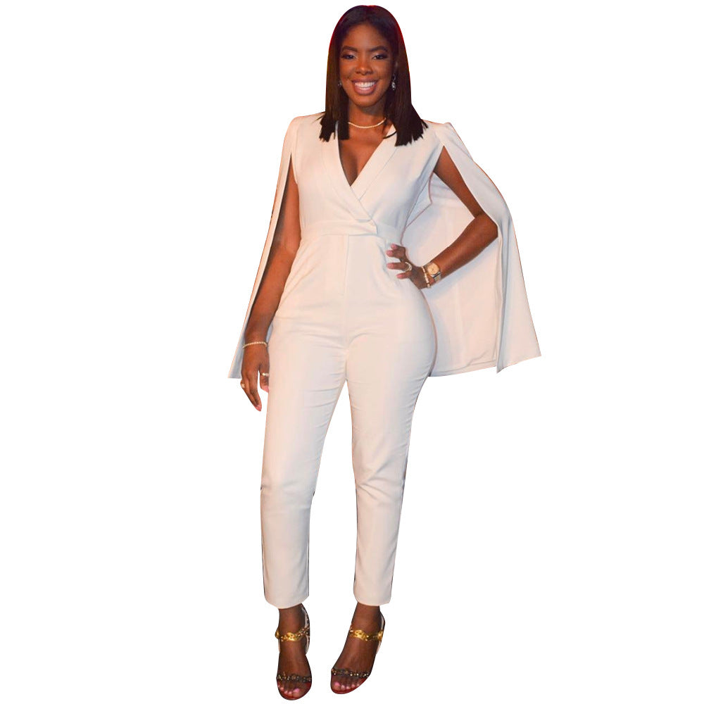 80bc3ab1ca2 Cape V-neck High Waist Long Skinny White Jumpsuits – MeetYoursFashion