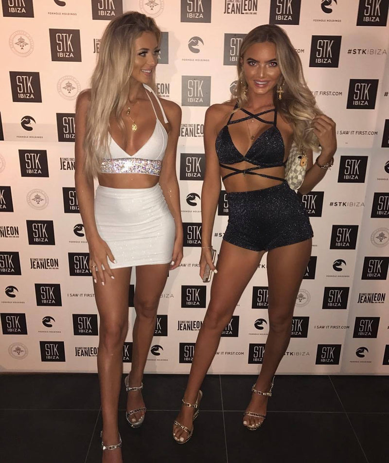Straps Backless Bra Top with Slim Shorts Two Pieces Set