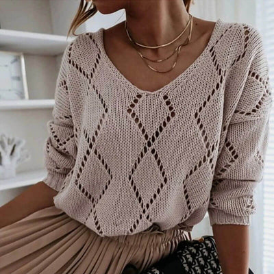 Hollow Out V Neck Pullover Sweater