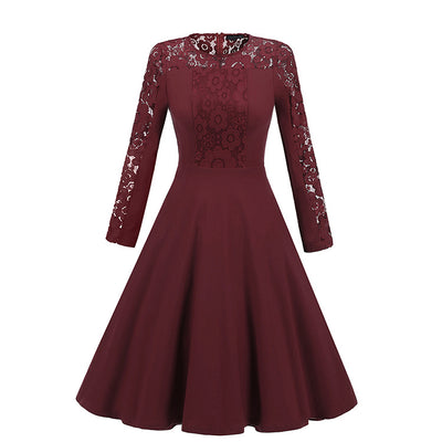 Solid Color Lace Long Sleeves Women Knee-length Dress