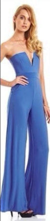 Strapless V-neck Slim Pure Color Flared Long Jumpsuit - Meet Yours Fashion - 6