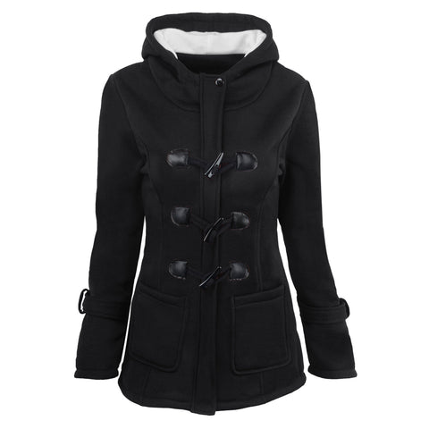 Button Pocket Long Warm Hooded Trench Coat