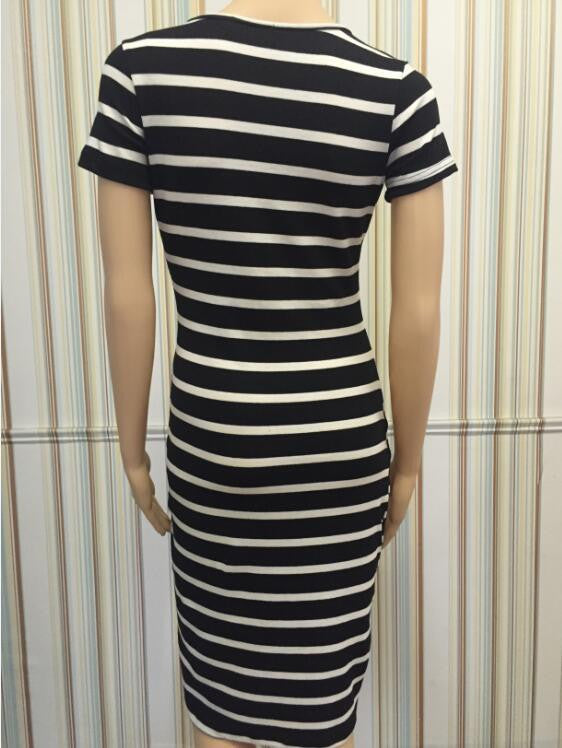 Striped Scoop Short Sleeves Knee-length Dress