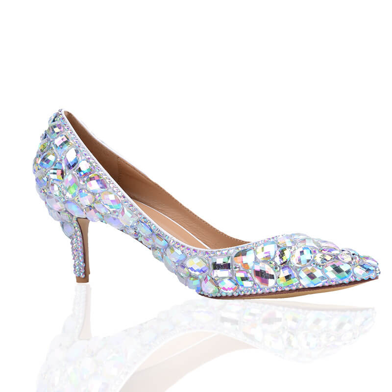 Ankle Rhinestone Stiletto Heel Point Toe Microfiber Pumps