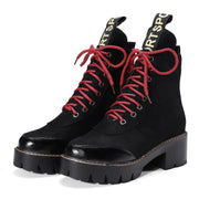 Suede Pure Color Chunky Heel Round Toe Lace-up Punk Short Boots
