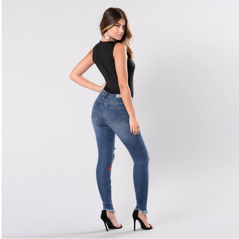 Plus Size Stretch Embroidery Ripped Skinny Denim Pants