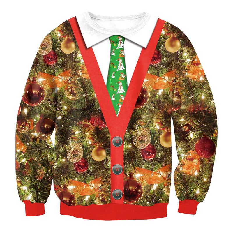 Scoop Christmas Tree Tie Print Women Sweatshirt