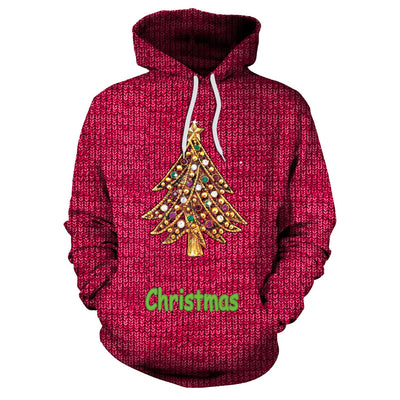Drawstring Christmas Tree Print Women Loose Party Hoodie