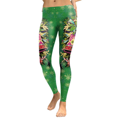 Mid Waist Elastic Colorful Print Women Christmas Party Legging