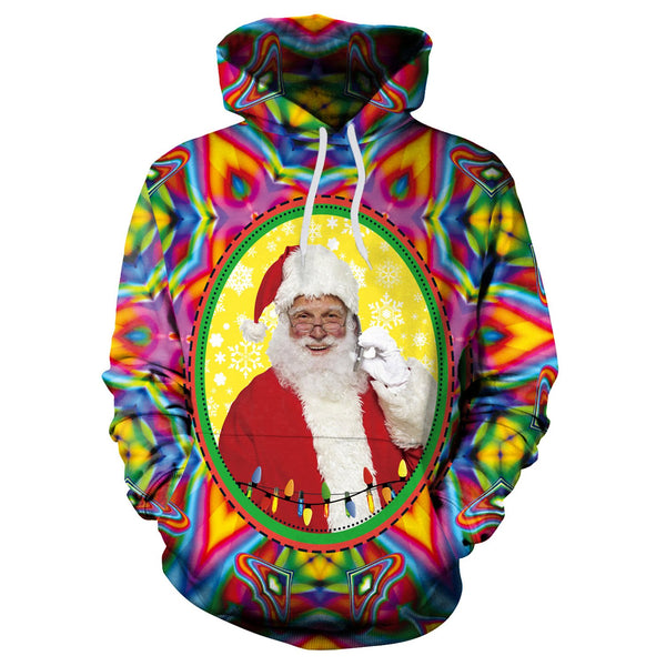 Santa Claus Colorful Print Women Drawstring Christmas Party Hoodie