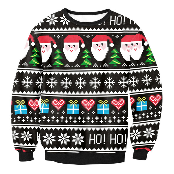 Snow Santa Claus Gifts Print Women Christmas Party Sweatshirt