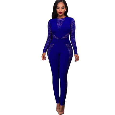 Lace Transparent Slim Scoop High Waist Elastic Long Jumpsuits