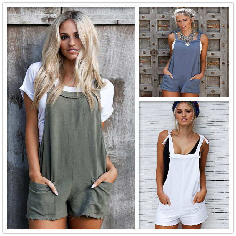 b0fa619c138c Loose Straps Pockets Short Rompers – MeetYoursFashion