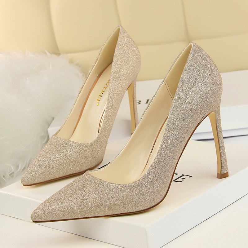 PU Stiletto Heel Pointed Toe Low Cut High Heels Party Dress Shoes