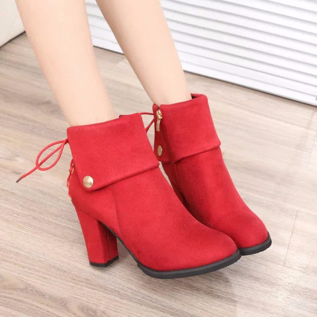 Back Lace Up Button Decoration Pointed Toe Middle Chunky Heel Short Boots