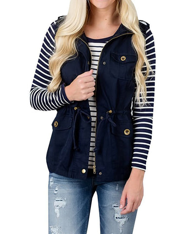 Solid Color Drawstring Pocket Women Slim Vest Jacket