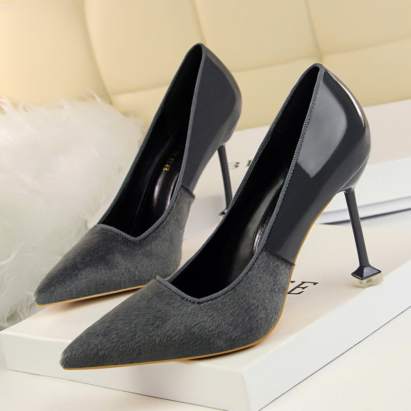 Bright Patchwork Stiletto Kitten Heel Pointed Toe High Heels Party Shoes