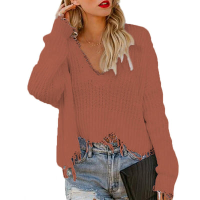 V-Neck Distressed Tassel Cropped Sweater