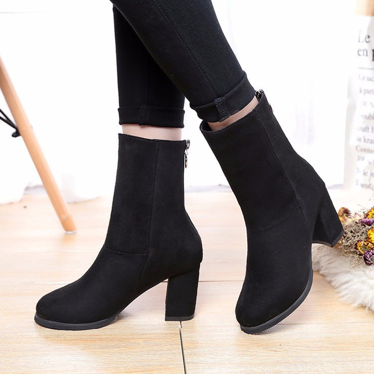 7b799e7f9f4 Suede Pure Color High Heels Round Toe Zipper Half Boots – MeetYoursFashion