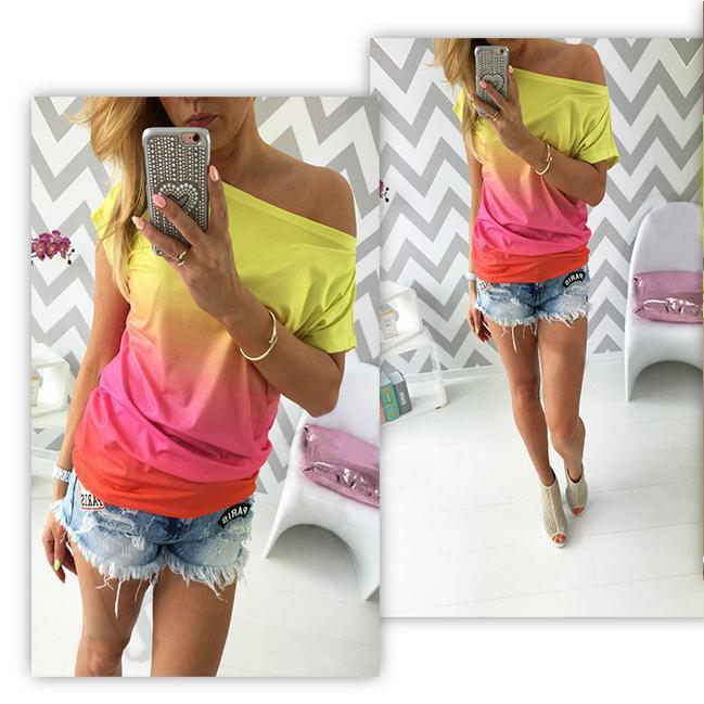 Gradually Changing Color Short Sleeves Scoop Casual T-shirt - Meet Yours Fashion - 2
