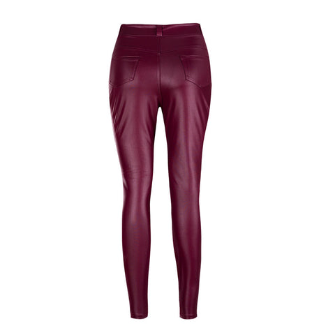 Patchwork Packets High Waist Solid Color Slim Zipper Long Skinny Pants